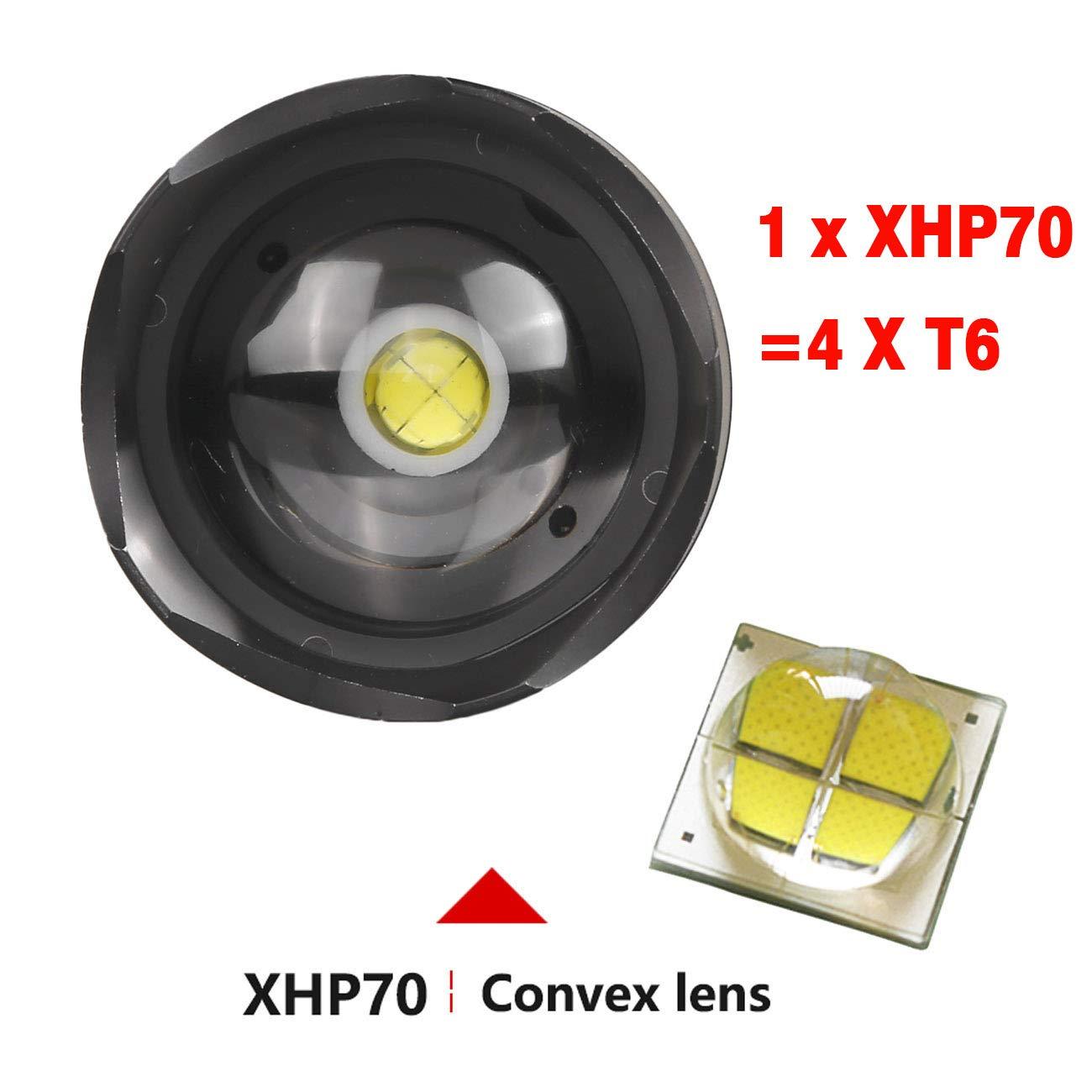 5000 lm, con bater/ía recargable y cable USB Garberiel Linterna LED