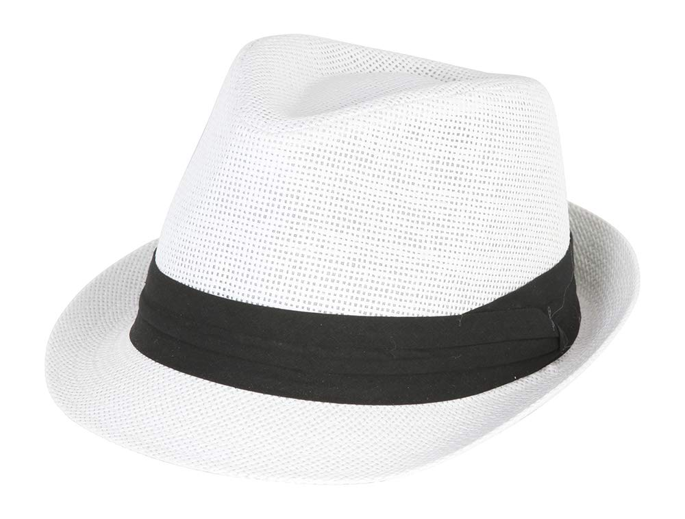 The Hatter Co. Tweed Classic Cuban Style Fedora Fashion Cap Hat - (5 Colors Available), White