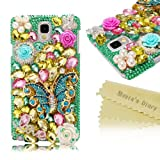 Mavis's Diary New 3D Handmade Bling Crystal Green Fresh Rhinestone Flower&Butterfly&Diamond Cover Case for Samsung Galaxy with Soft Clean Cloth (Samsung Galaxy Note 3 Note III N9000 N9005 N9006)