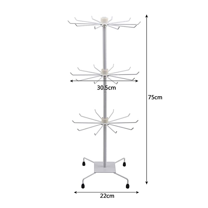 Rings White KingSaid 3 Tier Rotating Necklace Holder and 30 Hooks Jewelry Tree Display Stand Organizer for Necklaces Earrings Bracelets