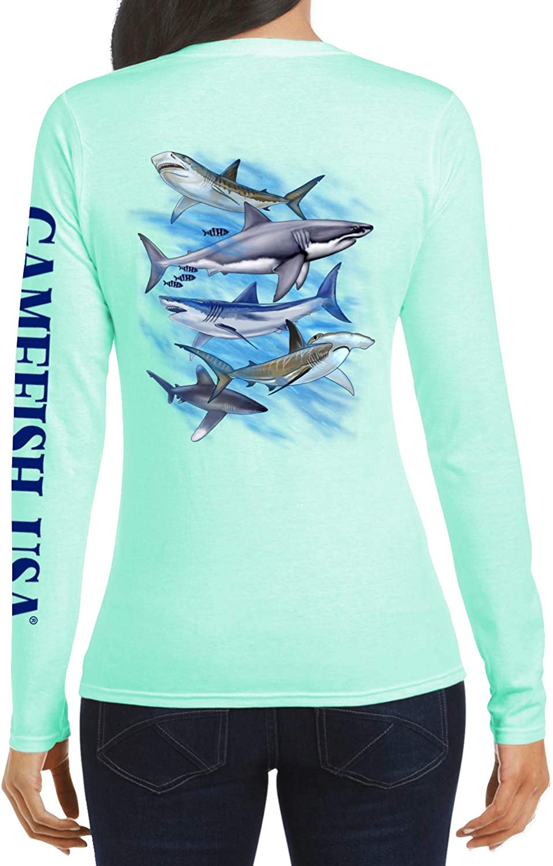 Women's UPF 50 Lightweight Microfiber Moisture Wicking Performance Fishing Shirt Sharks
