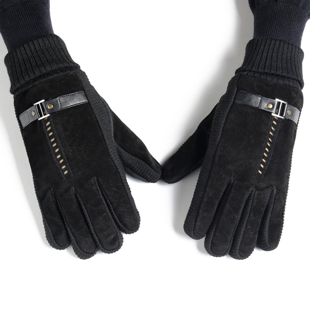 OLizee™ Men's Winter Velvet Knitted Windproof Cold Weather Warm Gloves(Business Style)
