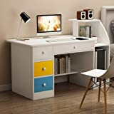 Simple Laptop Computer Desk with Drawer Shelf Office Home Modern Small Desk for Bedroom,Living Room,Office (White)