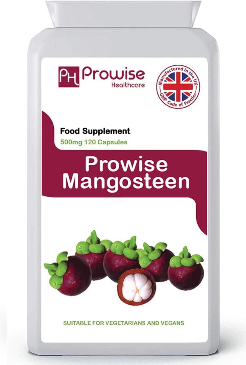 Mangostán 500 mg 120 cápsulas-Suplemento de salud antioxidante superalimento para apoyar el sistema inmunológico - Fabricado en el Reino Unido | Estándares GMP de Prowise Healthcare