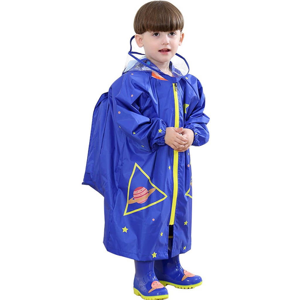 WYTbaby Kids Raincoats, Boys Girls Hooded Rain Poncho with School Bag Position,Blue
