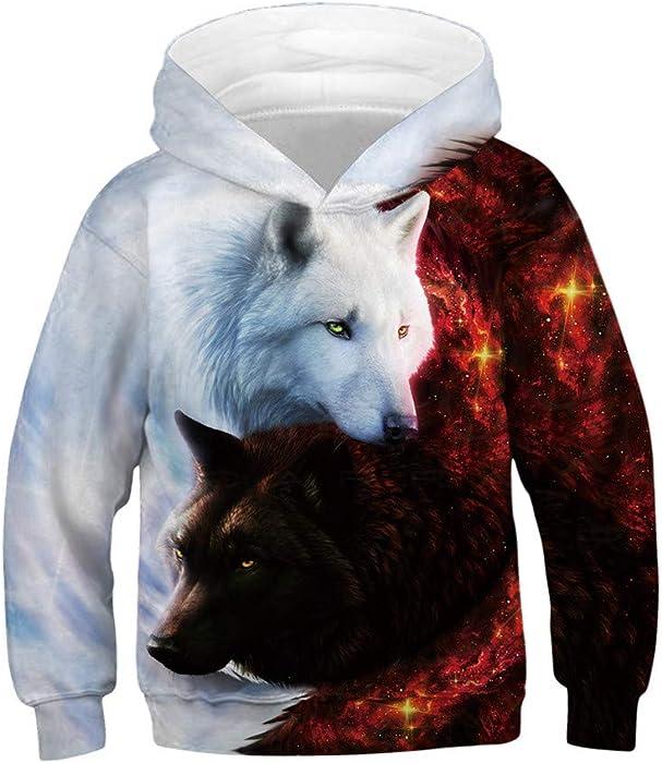 H.eternal Kid Boys Girls Hoodies Pullover Sweatshirts Realistic 3D Galaxy Fleece Print with Pocket Jumpers Casual Baseball Uniform Activewear Autumn Winter Outwear