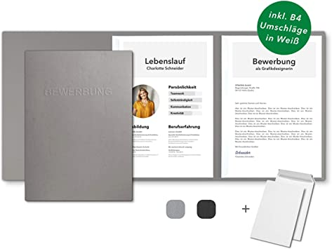 10 Umschläge 10 Bewerbungsmappen Schwarz 3-teilig Lederstruktur Set inkl