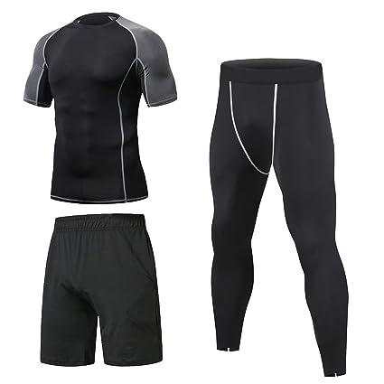 f41b3a4f125cc Niksa 3 Piezas Conjunto Camiseta Compresión Ropa Deportiva Hombre  Pantalones Cortos y Leggings y Tops Apretada