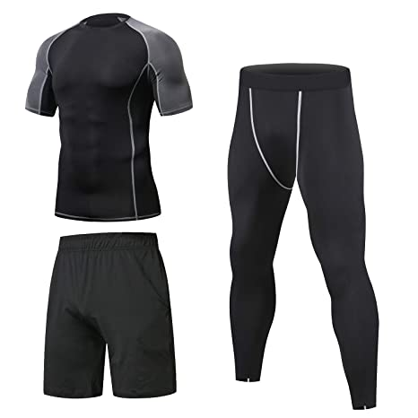Niksa Ensemble Compression Homme Tenue Sport Fitness Vêtement Running Tee Shirt Compression Legging Sport Short Running