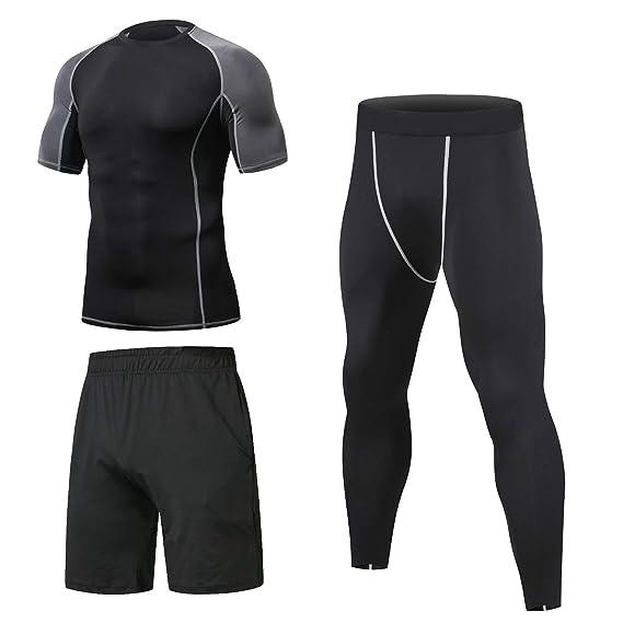 Niksa 3 Piezas Conjunto Camiseta Compresión Ropa Deportiva Hombre  Pantalones Cortos y Leggings y Tops Apretada Secado Rápido para Running  Fitness ... 82bc074cb8d90