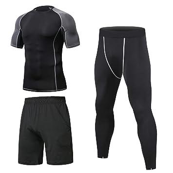 Niksa 3 Piezas Conjunto Camiseta Compresión Ropa Deportiva Hombre Pantalones Cortos y Leggings y Tops Apretada Secado Rápido para Running Fitness ...