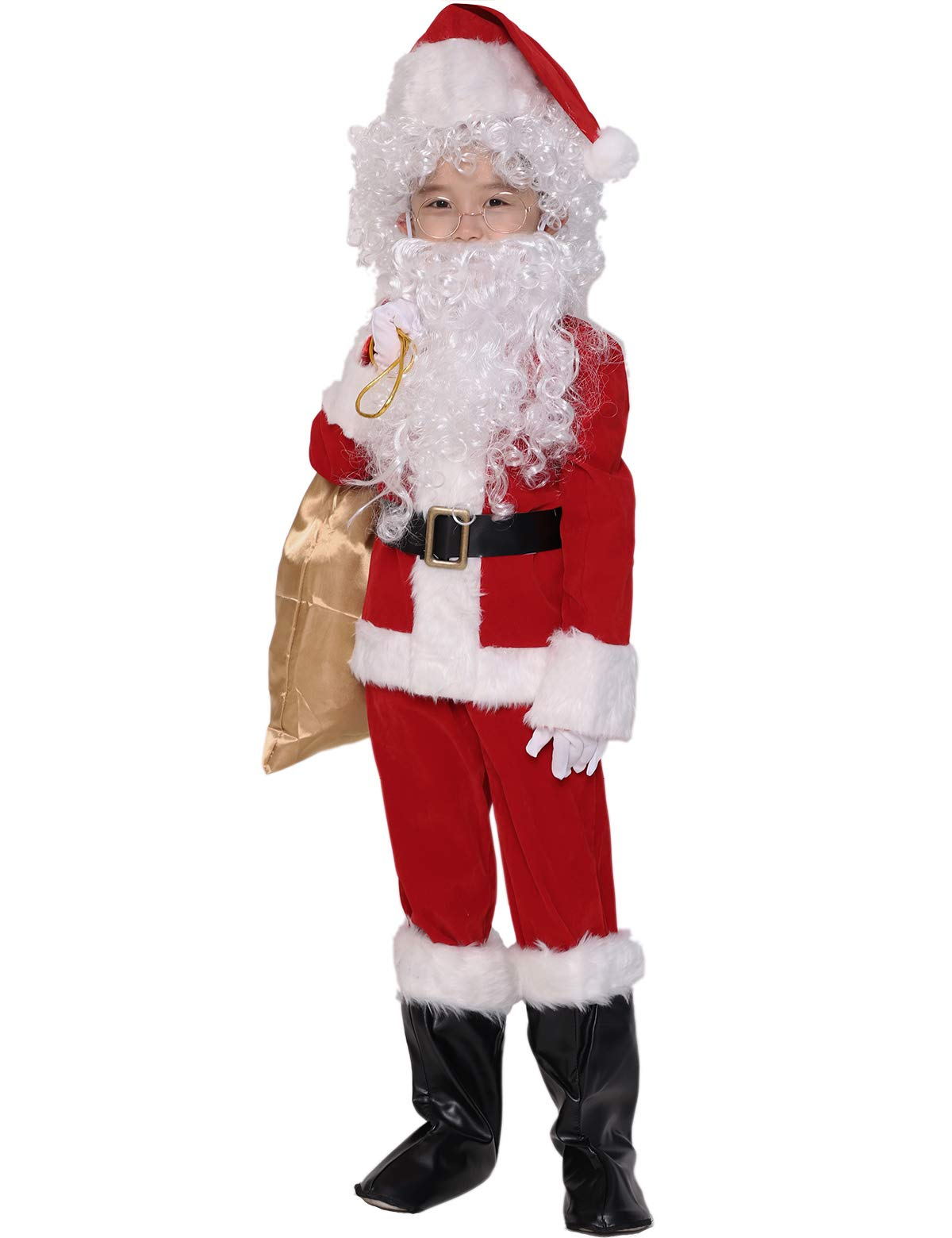 ADOMI Children's Deluxe Santa Suit 10pc. Christmas Child Santa Claus Kids Halloween Costume Cosplay L