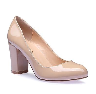 812915b1e86fe SUNETEDANCE Women's Block Heel Pumps Round Toe Heels Sexy Elegant Slip-on  Comfort Classic High Heels Office Business Shoes