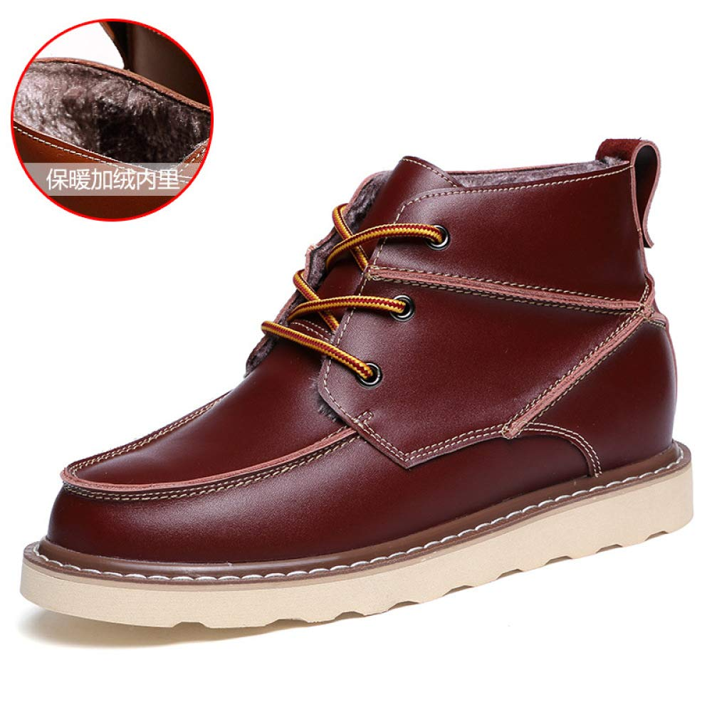 WDYY Herbst Und Casual Winter Plus SAMT Leder Casual Und Hilfe Britischen Martin Stiefel WineROT(plusvelvet) f21887