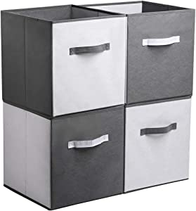 YueYue Foldable Cloth Storage Cube Basket Bins Organizer,4 Pack Fabric Stroage Bins with Contrasting Design,Open Home Fabric Box Great for Home&Office Gray & White 13 x13 x13