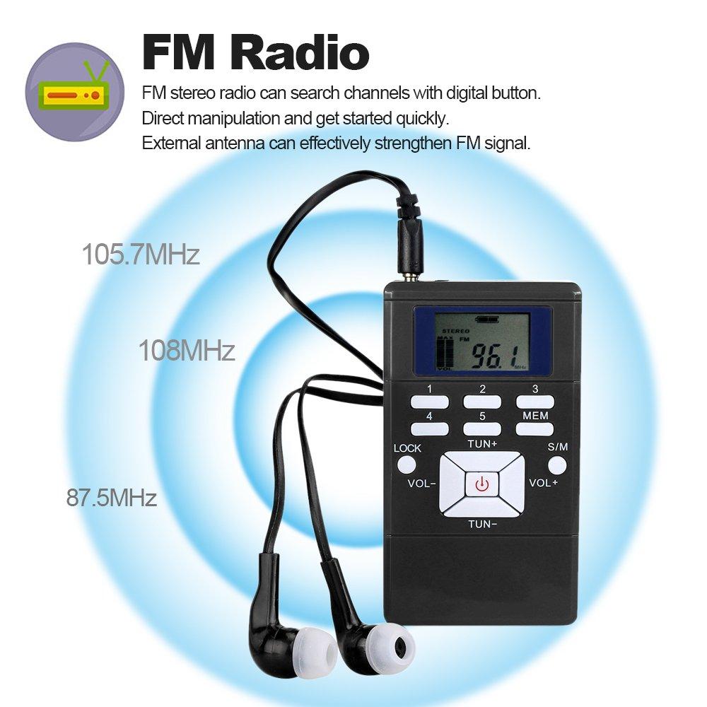 docooler Radio FM Stereo Ricevitore Elaborazione segnale digitale DSP Meeting Radio Display LCD con cordino per cuffie