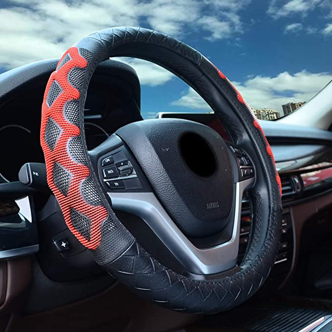XCBYT Steering Wheel Cover with Red Massage Design Non-Slip Anti-Friction Leather Universal 15 Inch Car Wheel Protector for Car Truck SUV Jeep