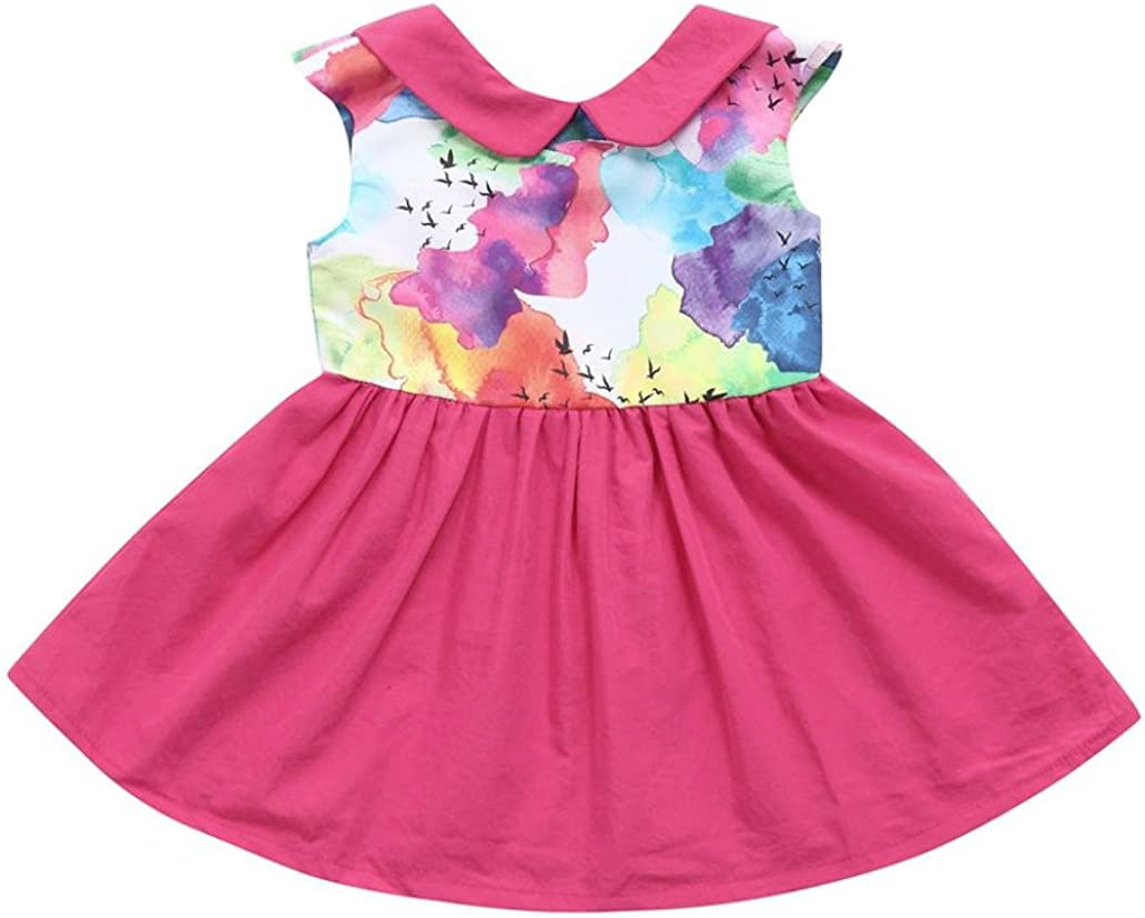 kaiCran Summer Little Girls Sleeveless Ink Painting Floral Printed Holiday Lovely Dress