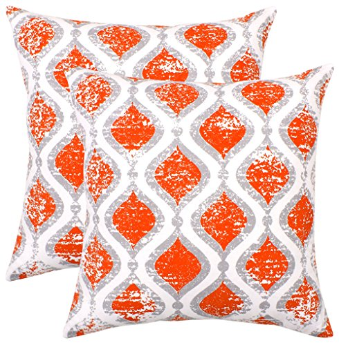 Isabella Beddings Decorative Throw Pillow Covers Sturdy Cotton Accent Trellis Printed Cushion Cover for Couch, Sofa, Bed 18 x 18 Inches Trellis - Set of 2 Accent Christmas Decor (Orange)