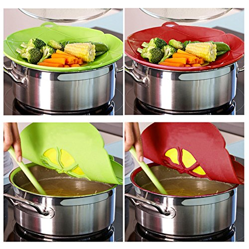 AUANDYU 2 X Spill Stopper Lid Cover And Spill Stopper, Boil Over Safeguard,Silicone Spill Stopper Pot Pan Lid Multi-Function Kitchen Tool (Green And Red) by AUANDYU (Image #3)