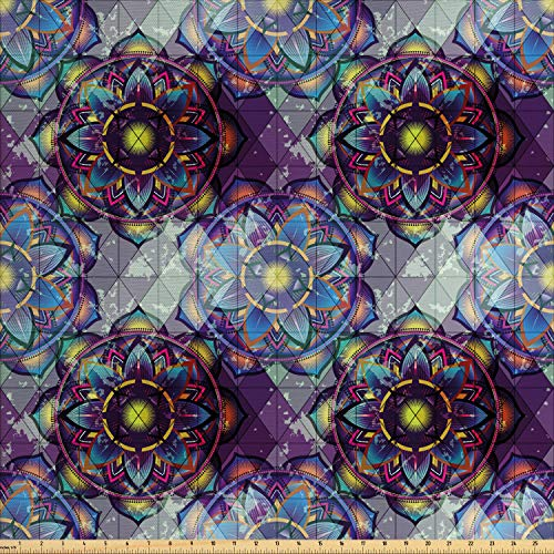Ambesonne Lotus Fabric by The Yard, Psychedelic Surreal Geometry Mandala Background with Futuristic Effects Print, Decorative Fabric for Upholstery and Home Accents, 1 Yard, Lilac Blue