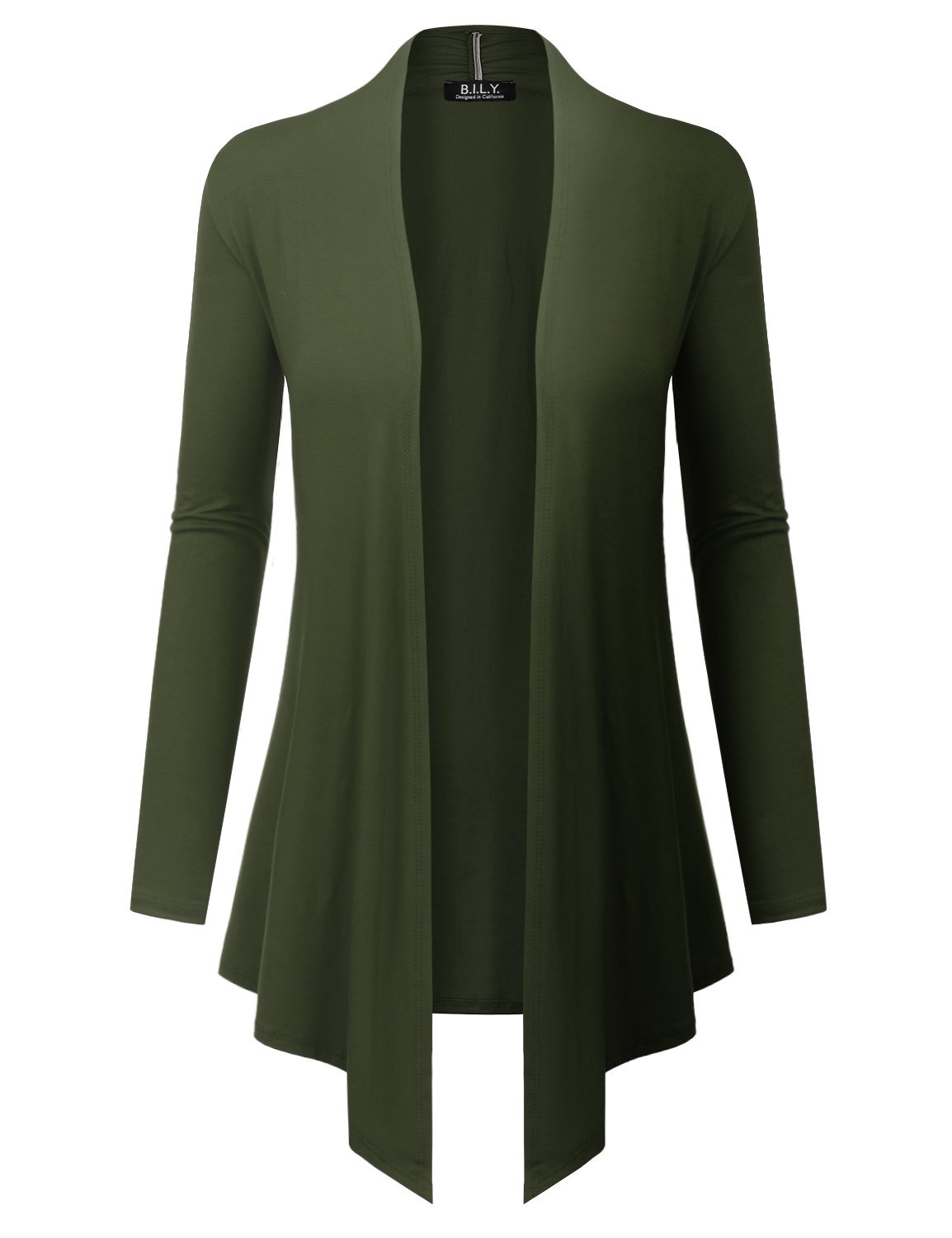 BH B.I.L.Y USA Women's Open Front Drape Hem Lightweight Cardigan with Pockets Olive XXX-Large by BH B.I.L.Y USA
