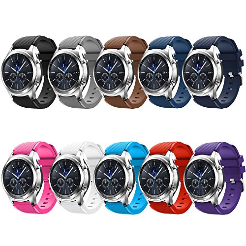 QGHXO Soft Silicone Replacement Sport Strap for Samsung Galaxy Watch (46mm)/Gear S3 Frontier/S3 Classic Smart Watch (10PCS Bands)