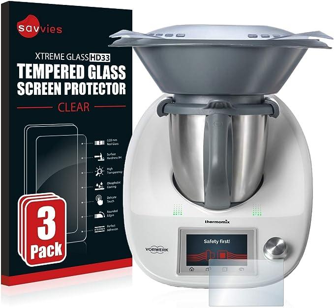 savvies Cristal Templado Compatible con Vorwerk Thermomix TM5 (3 Unidades) Protector Pantalla Vidrio Proteccion 9H Pelicula Anti-Huellas: Amazon.es: Electrónica