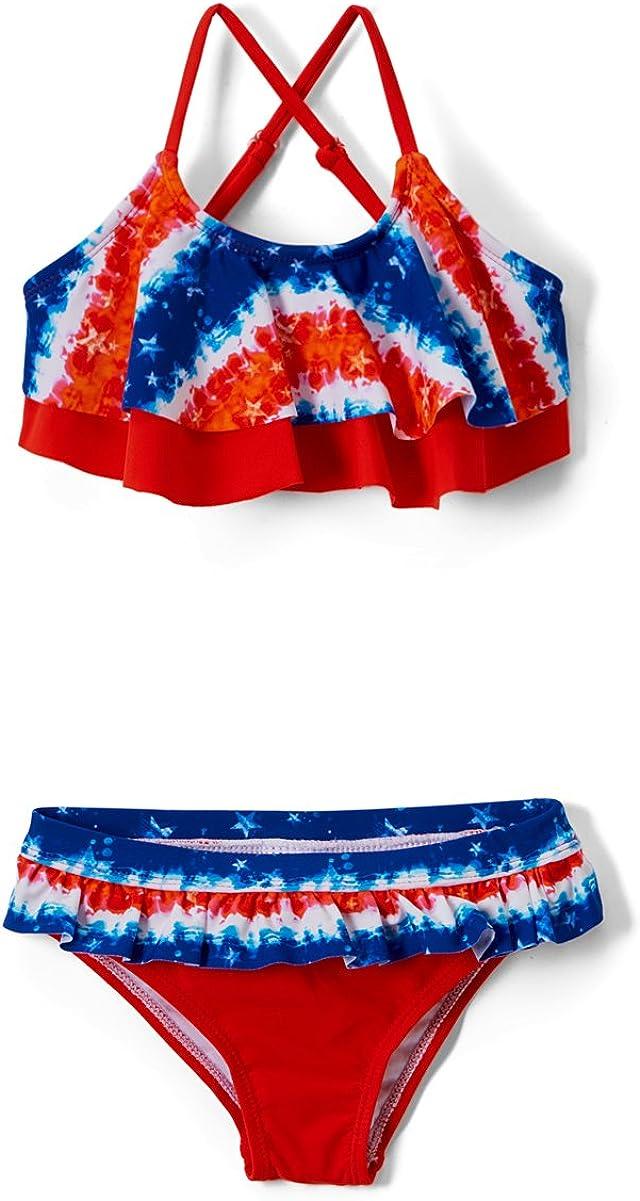 Sun Protection Girls Fashion Ruffle Bikini Swimsuit Set with UPF 50