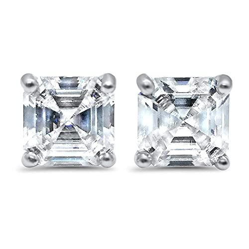d832551a2 Amazon.com: 14k White gold Asscher Forever ONE colorless Moissanite ...