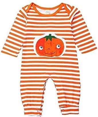 Newborn Baby Boy Girl Halloween Costumes Romper Pumpkin Bodysuit Outfits 0-18M