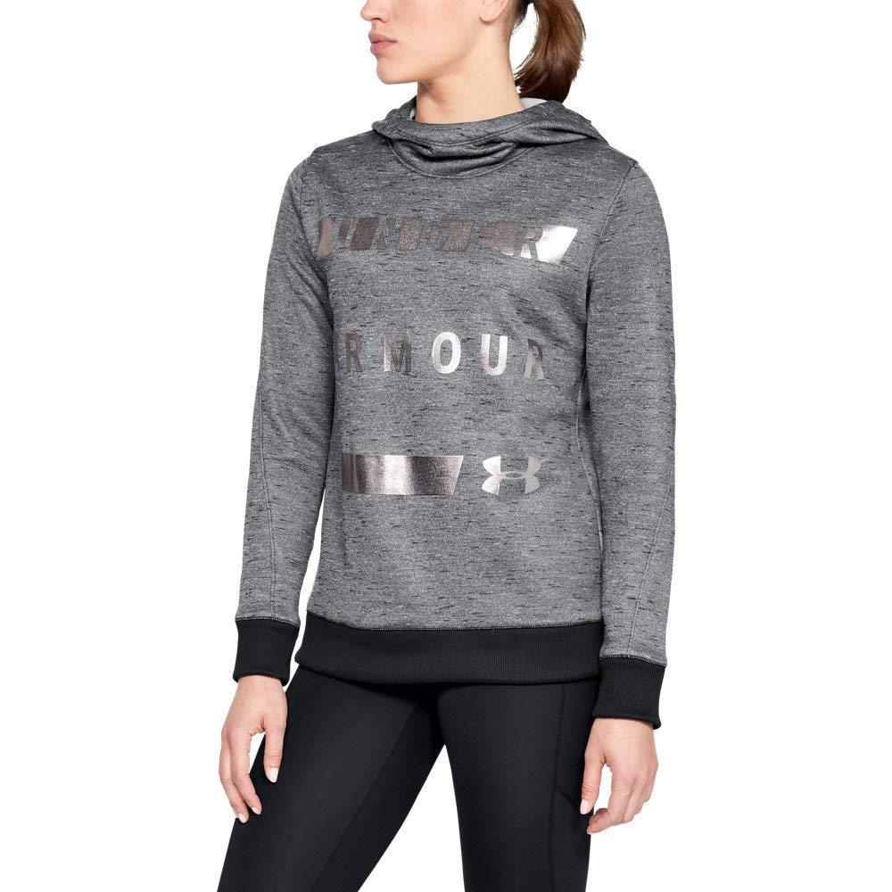 Under Armour Women's Synthetic Word Mark Fleece Pullover, Black (002)/Tonal, X-Small