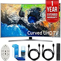 Samsung UN49MU7500 48.5 Curved 4K Ultra HD Smart LED TV (2017 Model) with 1 Year Extended Warranty + Accessories Bundle