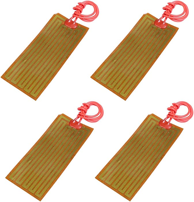Icstation 24V 30W Flexible Polyimide Heater Plate Adhesive PI Heating Film 45mmx100mm (Pack of 4)