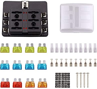 car fuse box blown amazon com faylapa 6 way blade fuse box holder with led indicator  faylapa 6 way blade fuse box holder