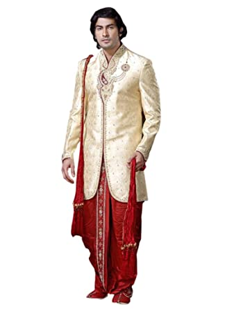 Srajan Wedding Groom Party Wear Sherwani With Dhoti Style Trouser Duppata For Men 36