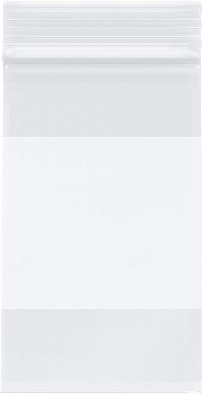 Plymor Heavy Duty Plastic Reclosable Zipper Bags w/White Block, 4 Mil, 3
