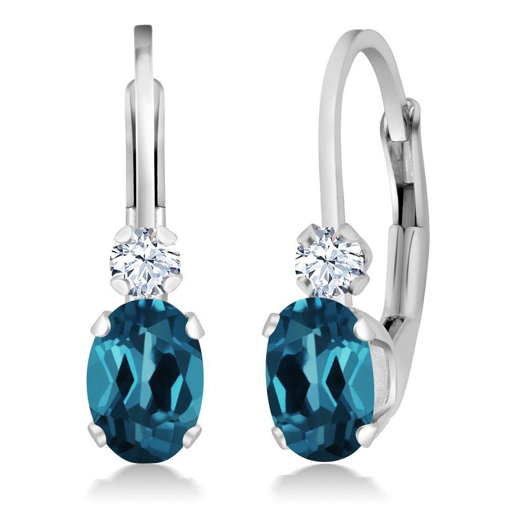 1.18 Ct Oval London Blue Topaz White Sapphire Gemstone Birthstone 925 Sterling Silver Leverback Earrings
