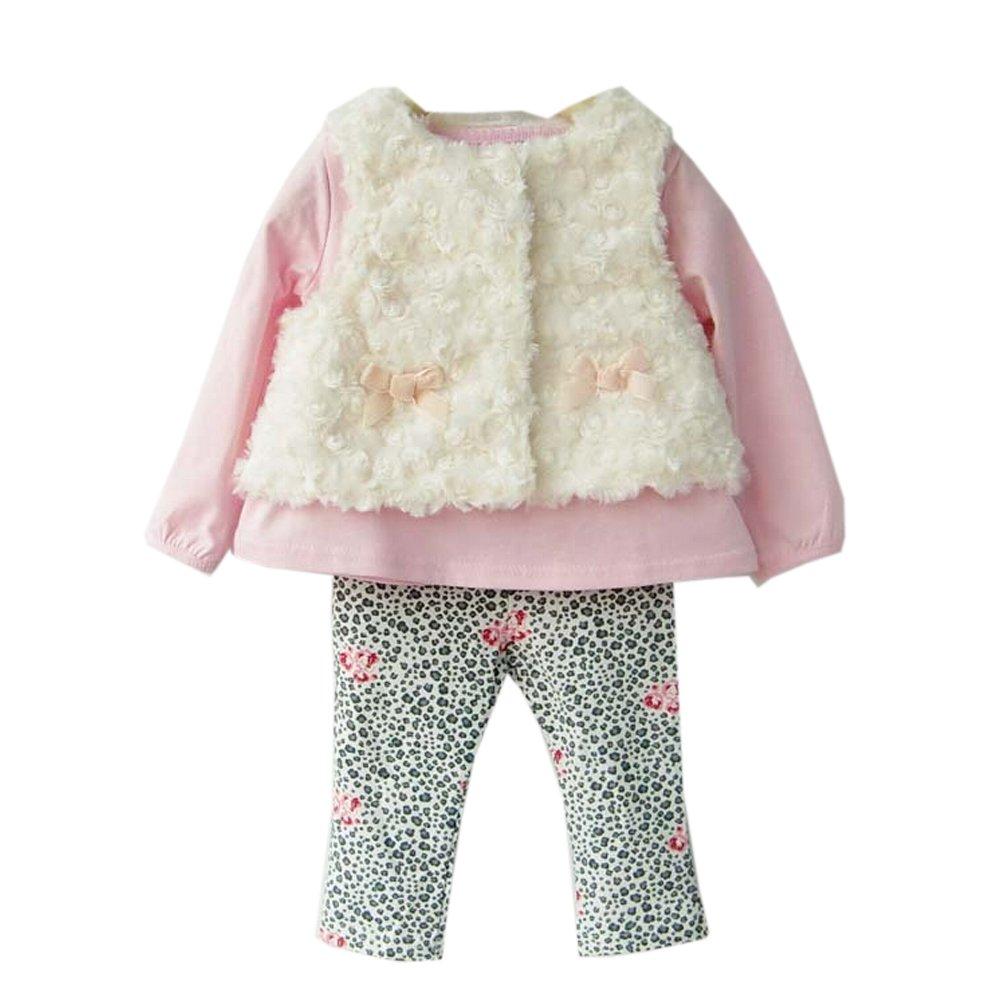 Arrowhunt Baby Girls Floral Tops Leggings Vest 3pcs Outfit Clothes Set