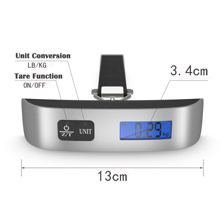 ... Digital Equipaje con Pantalla LCD Retroiluminada Escala Colgante,de 110 libras / 50 kg Sensor de Temperatura, Función de Tara, CE / FCC / RoHS Aprobado, ...