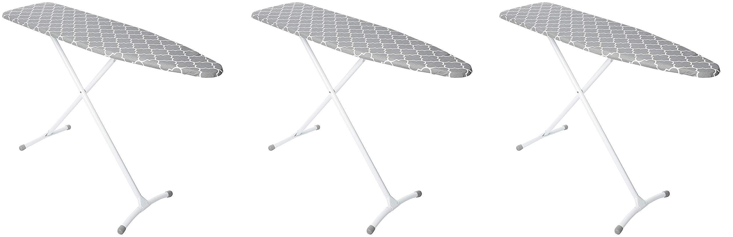 Homz Contour Steel Top Ironing Board, Grey & White Filigree Cover (Pack of 3)