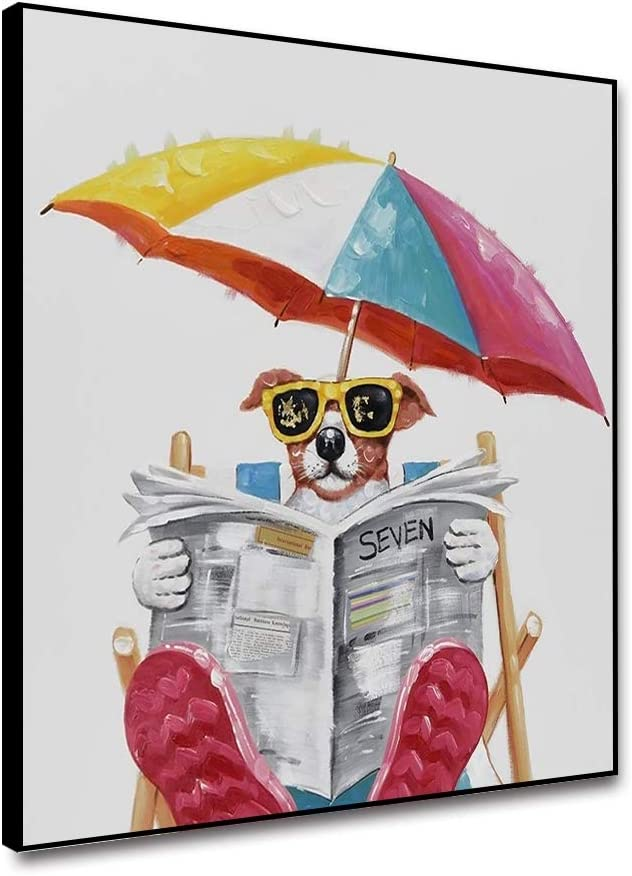 Yongto Dog Reading Newspaper Canvas Wall Art Funny Animal Painting Chair Umbrella Doggy Wearing Glasses Picture Modern Canvas Wall Decor for Living Room Bathroom 12x12 Inch Framed