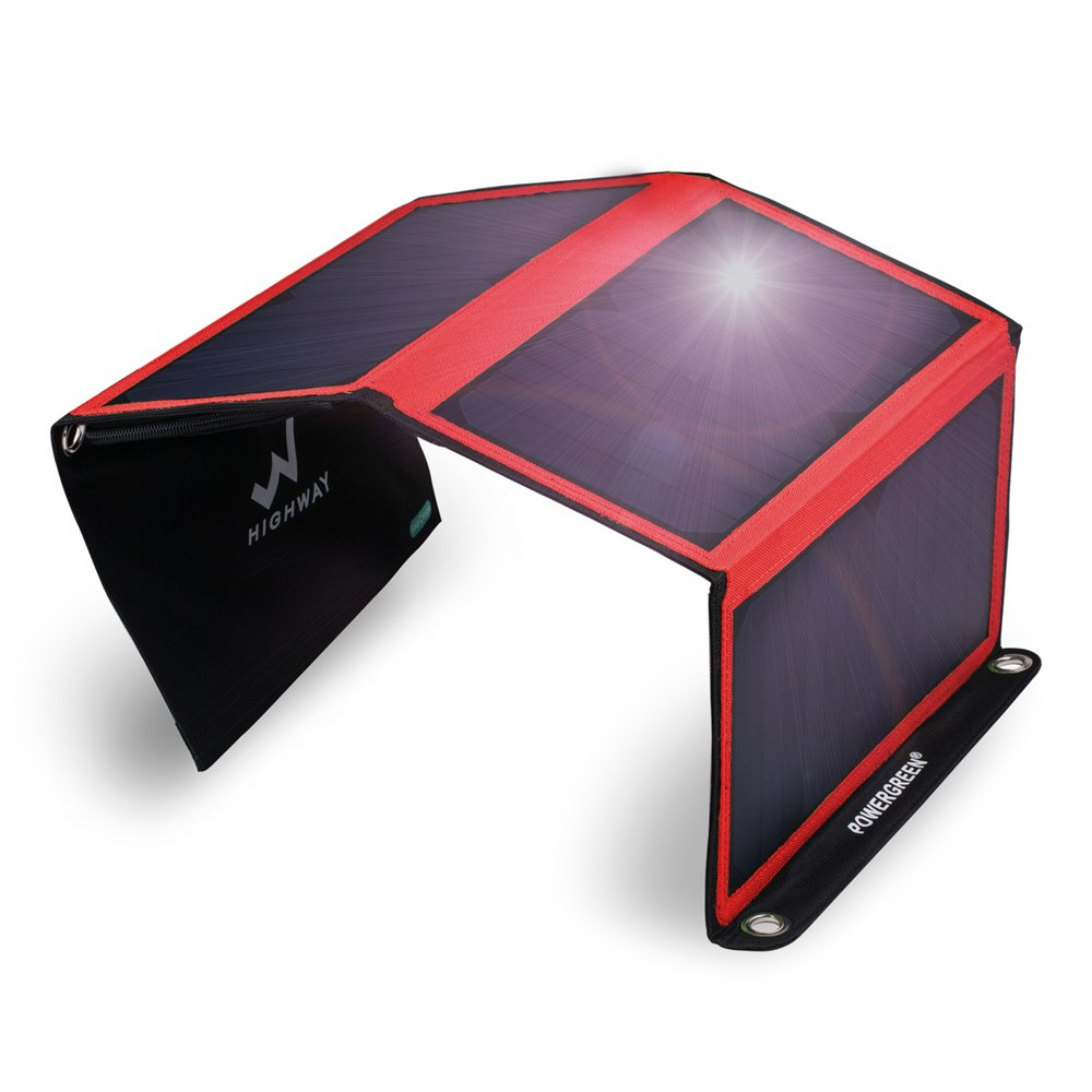 PowerGreen Solar Charger with Dual USB 21W Foldable SunPower High Efficiency Outdoor Solar Panel for Cell Phones and All 5V Digital Devices(Red) by PowerGreen