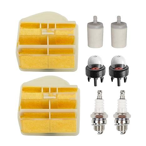 oxoxo nuevo filtro de aire con filtro de combustible bujías Tune Up Kit para Husqvarna 445