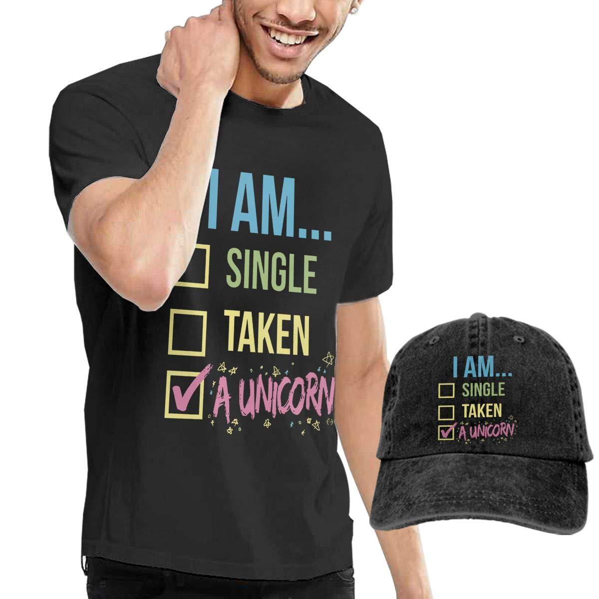 Yiooeea Mens I AM A Unicorn Tshirt and Washed Denim Baseball Dad Hats Black M