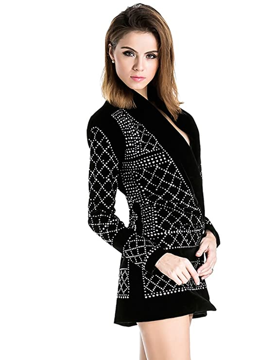 54c27c02344 Miss ord Women s V Neck Studded Slim Business Casual Long Top Dress Jackets  at Amazon Women s Coats Shop