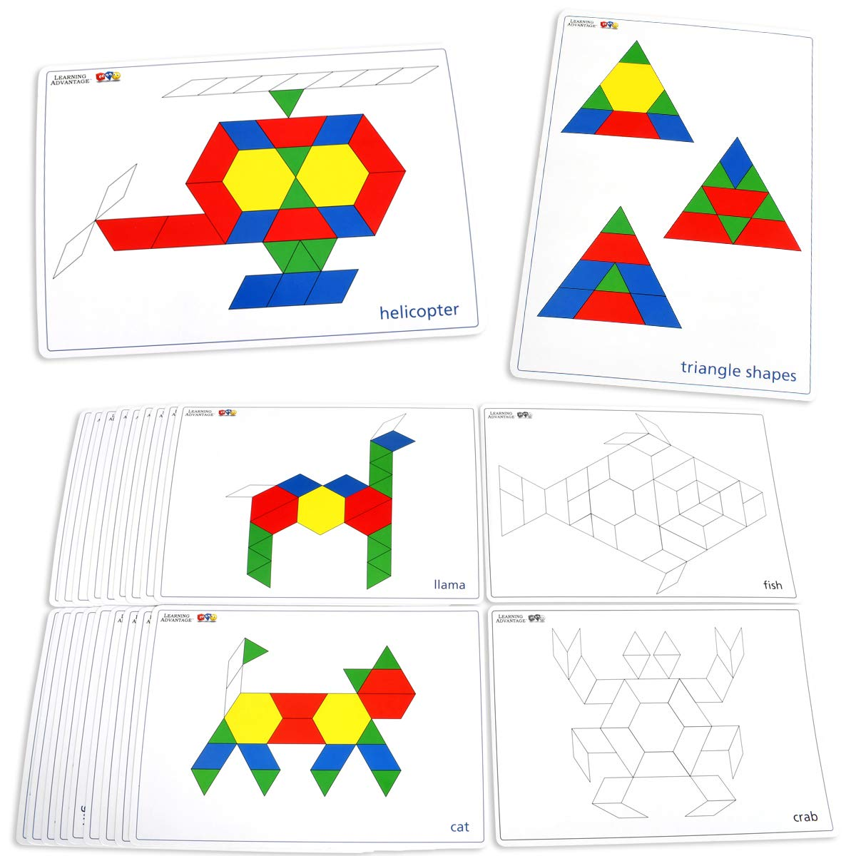 Learning Advantage Pattern Block Cards - Set of 20 Double-Sided Cards - Early Geometry for Kids - Teach Creativity, Sequencing and Patterning by Learning Advantage