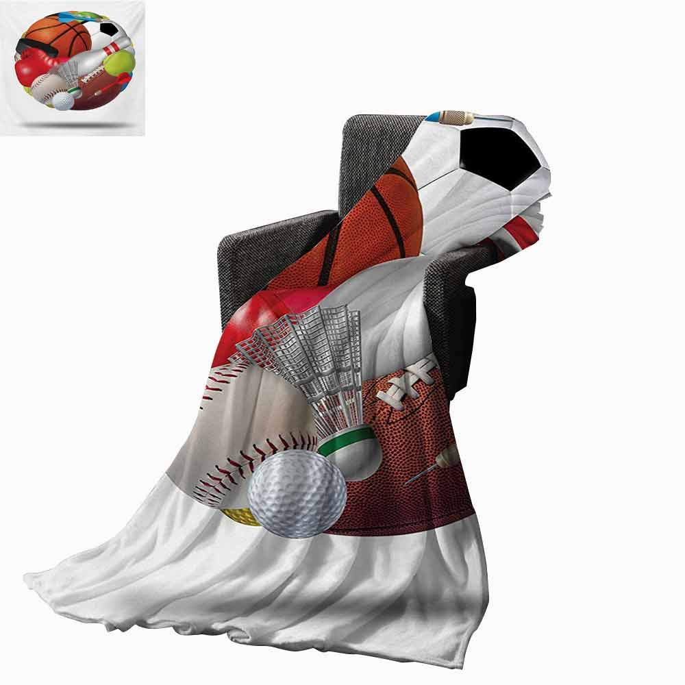 Sports Ultra Soft Flannel Blanket,Soccer Ball Combined with Other Sports Equipment Universal Hockey Darts Boxing Fun Lightweight Microfiber All Season for Couch or Bed (62''x60'')-Multicolor