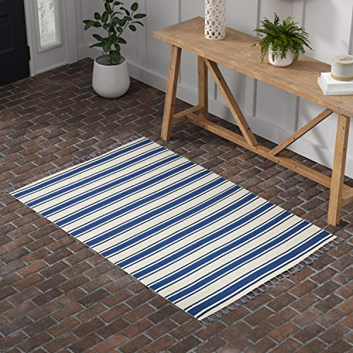 Stone Beam Los Altos Striped Dhurrie Farmhouse Area Rug, 4 x 6 6 , Navy and Ivory