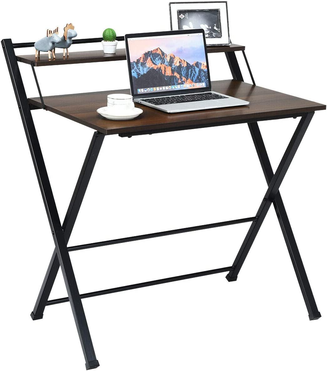 Tangkula Folding Computer Desk, Space-Saving Home Office Desk Working Table with Storage Shelf, Multipurpose Foldable Study Desk, Kid s Desk, Brown